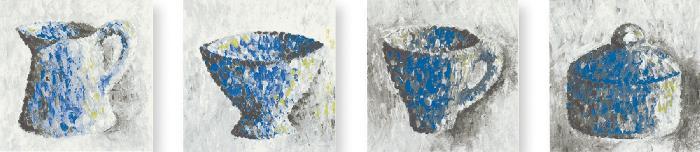 Jasba Paso blau-grau-weiß JA-3172 Dekor 'Sigma' 10x10 matt