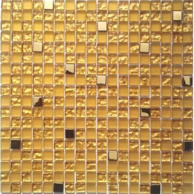 Glas-Metall Mosaik 1,5x1,5 gold mix FP-SG102 30x30 glänzend