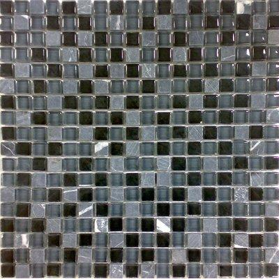 Glas-Naturstein Mosaik 1,5x1,5 grau/schwarz FP-No.9 30x30 glänzend