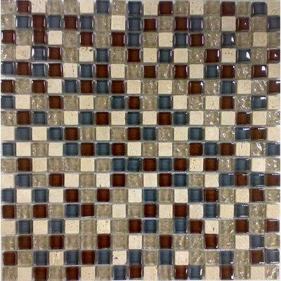 Glas-Naturstein Mosaik 1,5x1,5 gold/braun/grau FP-No.10 30x30 glänzend