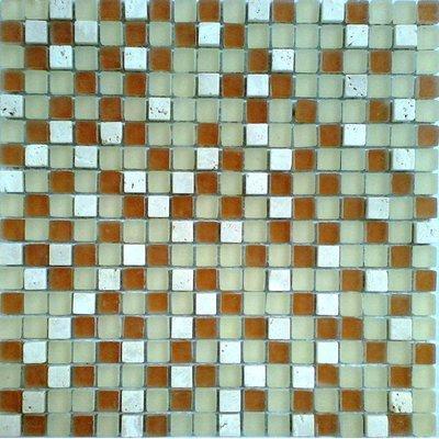 Glas-Naturstein Mosaik 1,5x1,5 grün/braun/weiß FP-No.12 30x30 matt
