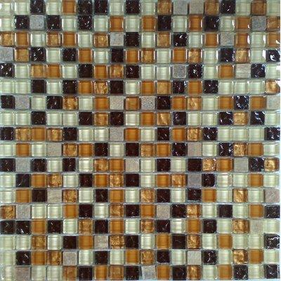 Glas-Naturstein Mosaik 1,5x1,5 bernstein/braun/weiß FP-No.14 30x30 glänzend
