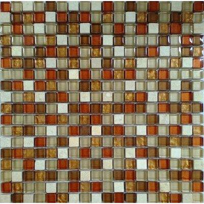 Glas-Naturstein Mosaik 1,5x1,5 braun mix FP-No.16 30x30 glänzend