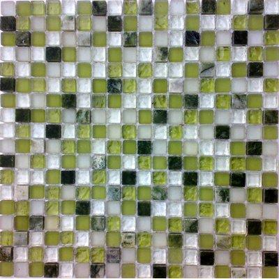 Glas-Naturstein Mosaik 1,5x1,5 grün-mix FP-QMM0004-B 30x30