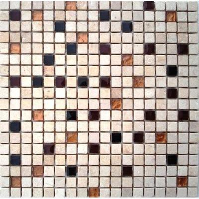Glas-Naturstein Mosaik 1,5x1,5 gold mix FP-2008BL-08 30x30