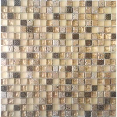 Glas-Naturstein Mosaik 1,5x1,5 gold mix FP-SFER15002 30x30
