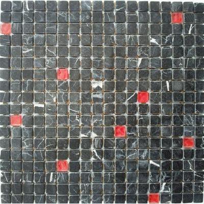 Glas-Naturstein Mosaik 1,5x1,5 nero/rojo FP-QMM022-A 30x30