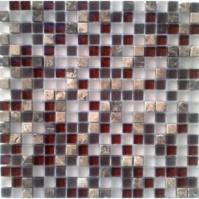 Glas-Naturstein Mosaik 1,5x1,5 brown mix FP-SG101 30x30