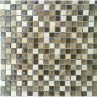 Glas-Naturstein Mosaik 1,5x1,5 braun mix FP-SG15030 30x30