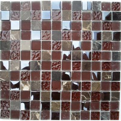 Glas-Naturstein Mosaik 2,3x2,3 brown mix FP-QML002-F 30x30