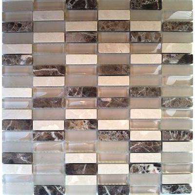 Glas-Naturstein Mosaik 1,5x5 beige mix FP-SG1548-1 30x30