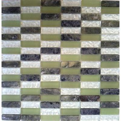 Glas-Naturstein Mosaik 1,5x5 grün mix FP-SG1548-2 30x30
