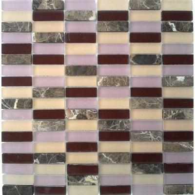 Glas-Naturstein Mosaik 1,5x5 bordeaux mix FP-SG1548-3 30x30