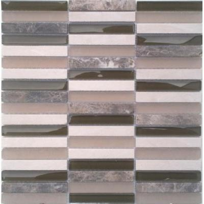 Glas-Naturstein Mosaik 1,5x10 beige mix FP-SG1598-1 30x30