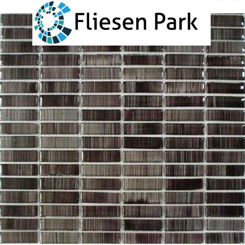 Glas Mosaik 1,5x5 schwarz FP-QK123-H 30x30