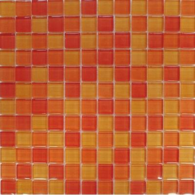 Glas Mosaik 2,3x2,3 orange mix FP-QH1070-F 30x30 glänzend