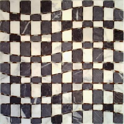 Naturstein Mosaik nero FP-Welle A 30x30