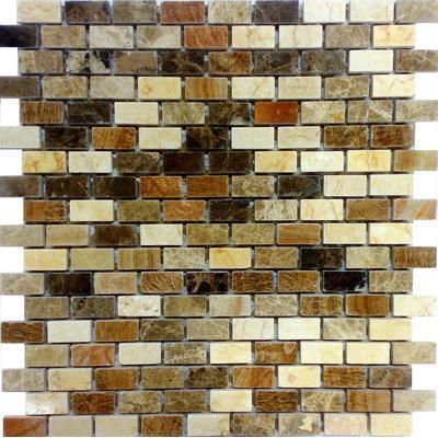 Naturstein Mosaik 1,5x1,5 braun mix FP-A118-3P Brick 30x30 poliert