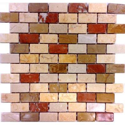 Naturstein Mosaik 2,5x5 rosso-giallo-travertin FP-NO.05 30x30