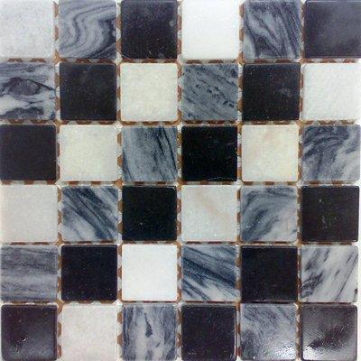 Naturstein Mosaik 4,8x4,8 nero-grigio-bianco FP-NO.02 30x30 matt