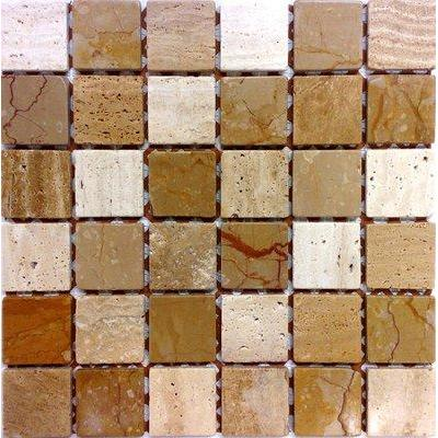 Naturstein Mosaik 4,8x4,8 giallo-scabos-chiaro FP-NO.03 30x30 matt