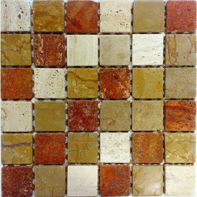 Naturstein Mosaik 4,8x4,8 rosso-giallo-travertin FP-NO.04 30x30 matt