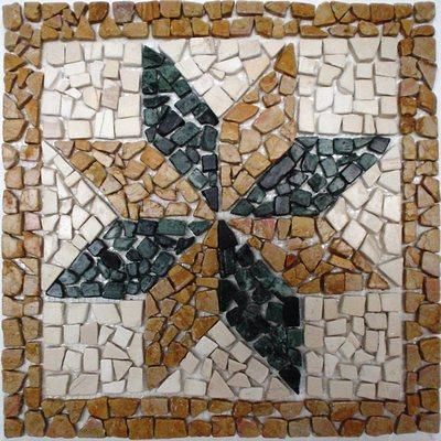 Naturstein Rosone braun schwarz weiß FP-K-127 33x33 matt