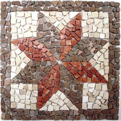 Naturstein Rosone braun rot weiß FP-K-128 33x33 matt
