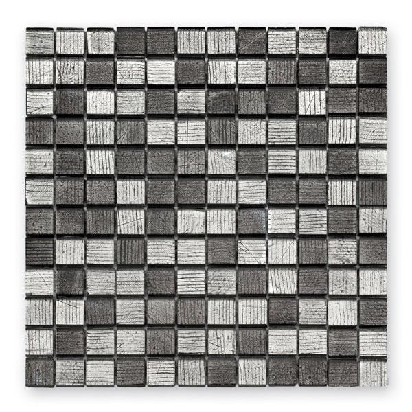 Bärwolf Fineline silver black mix BA-GL-10004 Glas Mosaik 2,3x2,3 30x30 glänzend