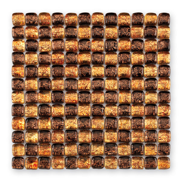 Bärwolf Ice Cube golden brown mix BA-GL-11001 Glas Mosaik 2,5x2,5 30x30 glänzend
