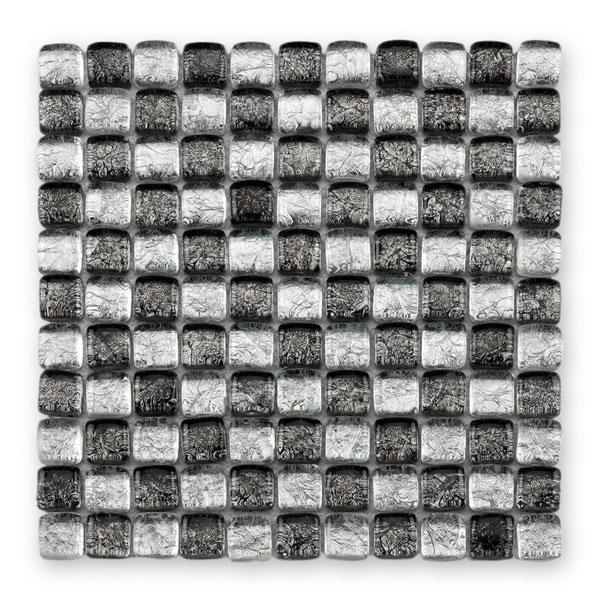 Bärwolf Ice Cube silver black mix BA-GL-11003 Glas Mosaik 2,5x2,5 30x30 glänzend
