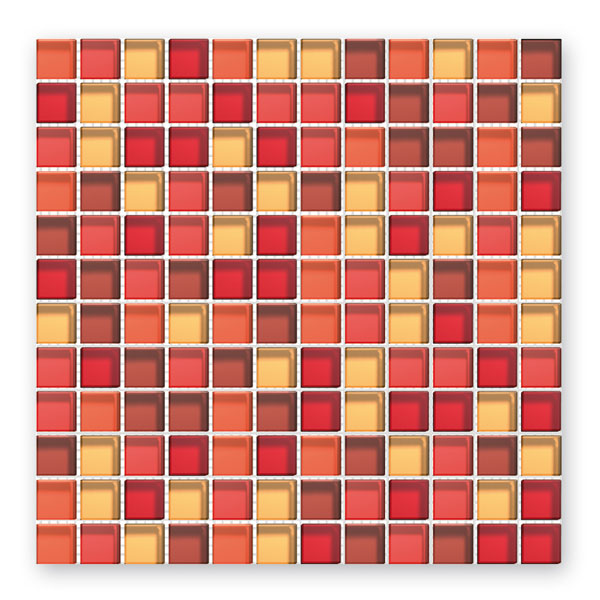 Bärwolf Translucent red mix BA-GL-2350 Glas Mosaik 2,3x2,3 30x30 glänzend