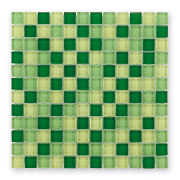 Bärwolf Translucent fresh green mix BA-GL-2441 Glas Mosaik 2,3x2,3 30x30 glänzend
