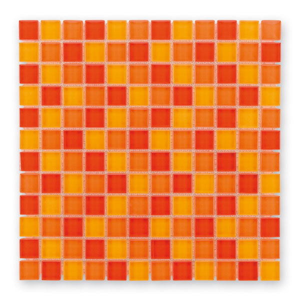 Bärwolf Translucent sunny orange mix BA-GL-2451 Glas Mosaik 2,3x2,3 30x30 glänzend