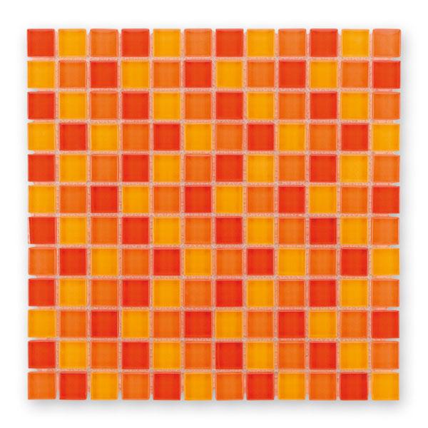 Bärwolf Translucent sunny orange mix BA-GL-2451 Glas Mosaik 2,3x2,3 30x30 glänzend