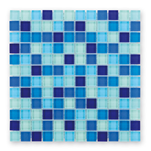 Bärwolf Translucent water blue mix BA-GL-2461 Glas Mosaik 2,3x2,3 30x30 glänzend