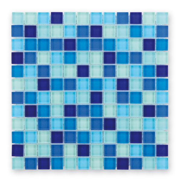 Bärwolf Translucent water blue mix BA-GL-2461 Glas Mosaik 2,3x2,3 30x30 glänzend