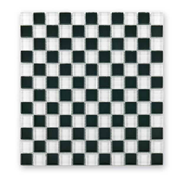 Bärwolf Translucent black white mix BA-GL-2501 Glas Mosaik 2,3x2,3 30x30 glänzend