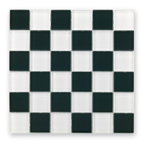 Bärwolf Translucent black white mix BA-GL-2502 Glas Mosaik 4,8x4,8 30x30 glänzend