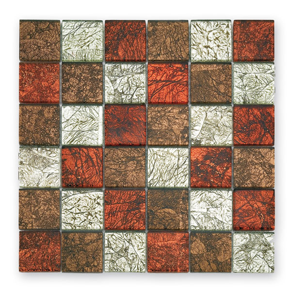 Bärwolf Byzantine red brown silver mix BA-GL-2535 Glas Mosaik 4,8x4,8 30x30 glänzend