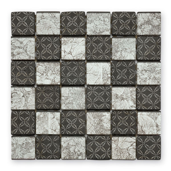 Bärwolf Byzantine silver black mix BA-GL-2537 Glas Mosaik 4,8x4,8 30x30 glänzend