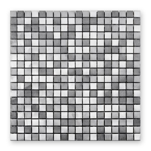 Bärwolf Aluminium graphit mix BA-MB-1305 Metall Mosaik 1,5x1,5 30x30 matt/glänzend
