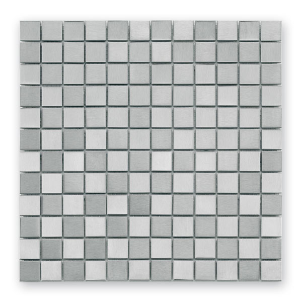 Bärwolf Steel silver checkerboard BA-MC-0024 Metall Mosaik 2,5x2,5 30x30 matt/glänzend