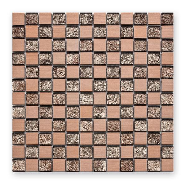 Bärwolf Aluminium metal rose BA-GL-1027 Materialmix Mosaik 2,3x2,3 30x30 matt/glänzend