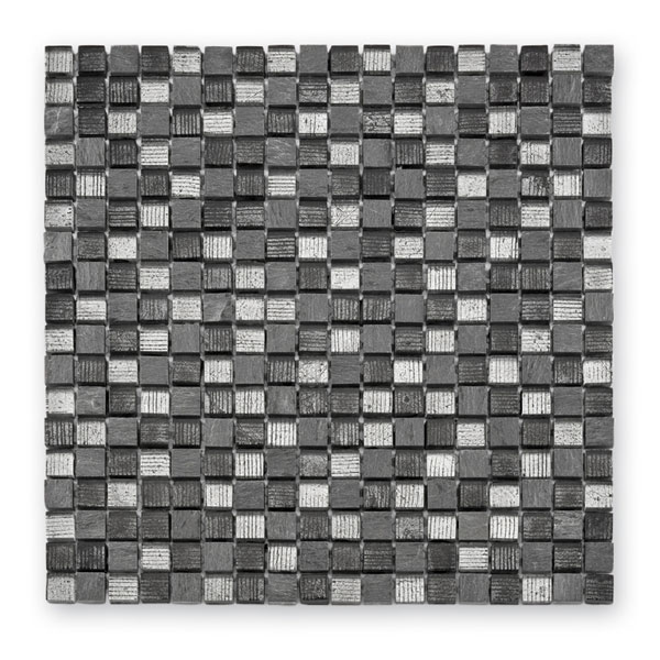 Bärwolf Fineline grey mix BA-GL-12007 Materialmix Mosaik 1,5x1,5 30x30 matt/glänzend