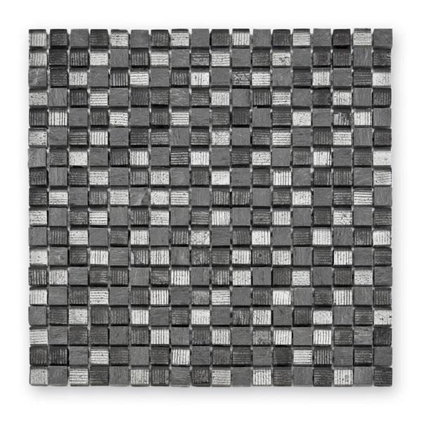 Bärwolf Fineline grey mix BA-GL-12007 Materialmix Mosaik 1,5x1,5 30x30 matt/glänzend