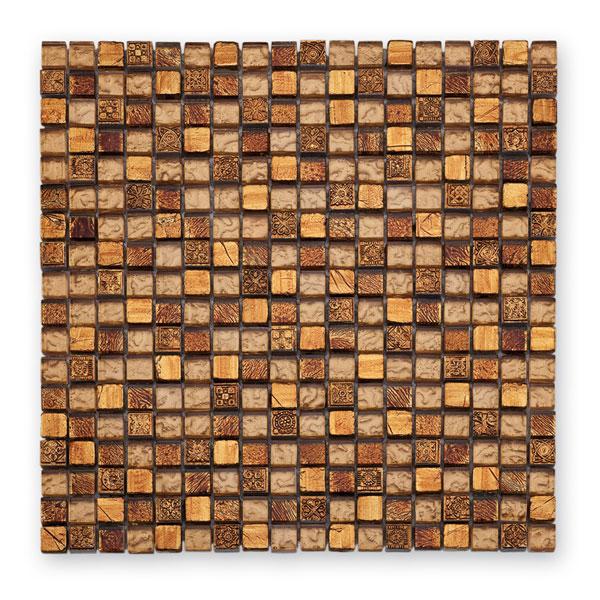 Bärwolf Tuscany warm gold BA-GL-2488 Materialmix Mosaik 1,5x1,5 30x30 matt/glänzend