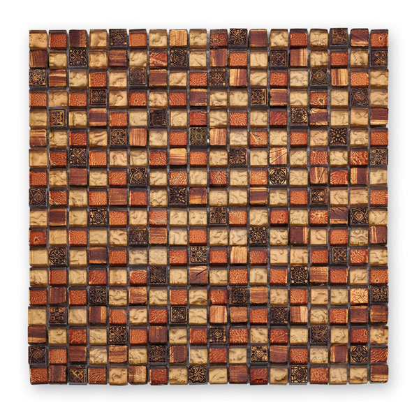 Bärwolf Tuscany golden red BA-GL-2489 Materialmix Mosaik 1,5x1,5 30x30 matt/glänzend