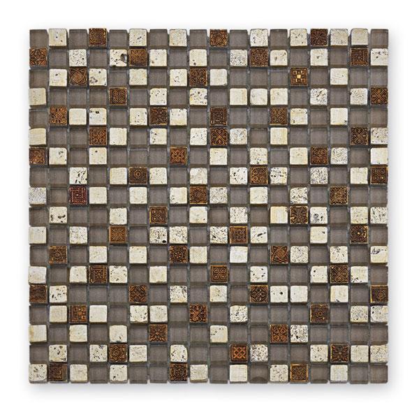 Bärwolf Tuscany antik silver BA-GL-2490 Materialmix Mosaik 1,5x1,5 30x30 matt/glänzend