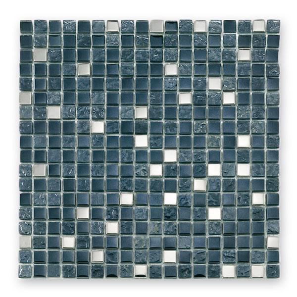 Bärwolf Tuscany metal black BA-GL-2495 Materialmix Mosaik 1,5x1,5 30x30 matt/glänzend R9